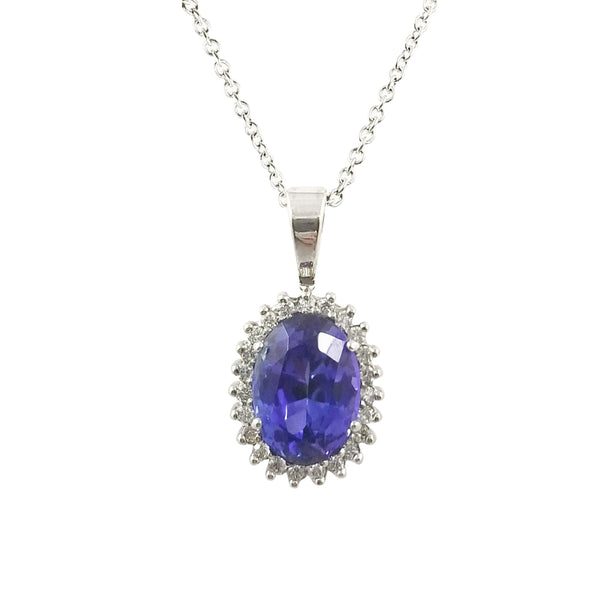 18 kt White Gold Tanzanite Halo Pendant with Diamonds - Cape Diamond Exchange