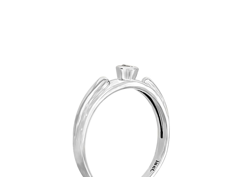 18kt White Gold Tube Setting Diamond Ring - Cape Diamond Exchange