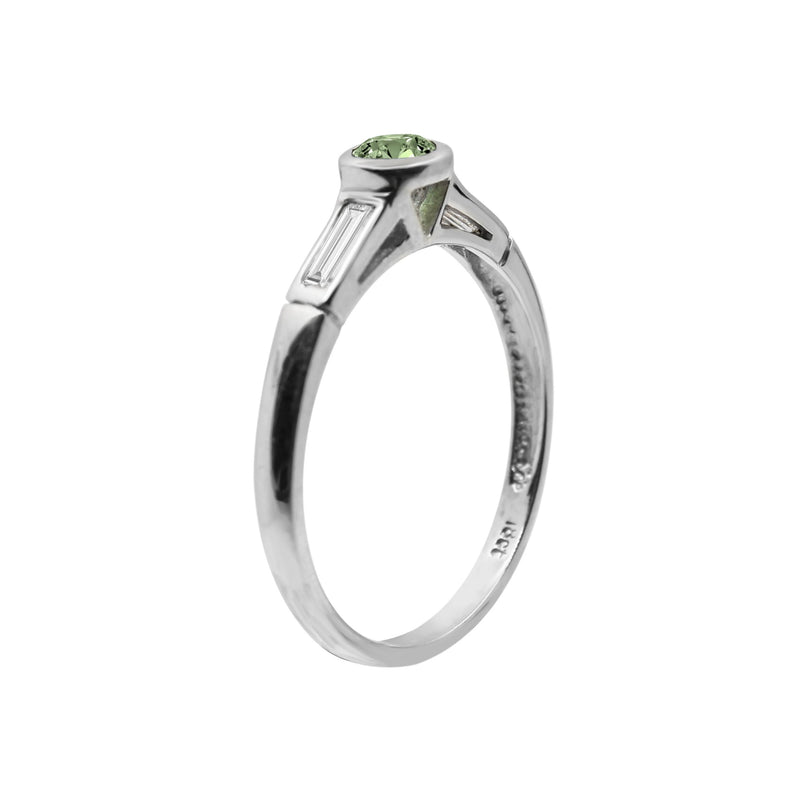 Green Tourmaline Ring set in White Gold with Baguette Cut Diamonds