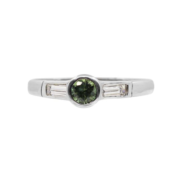 White Gold with Green Tourmaline and Diamond Ring