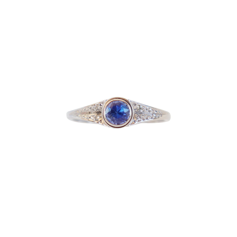 White Gold Tanzanite and Diamond Pave Ring