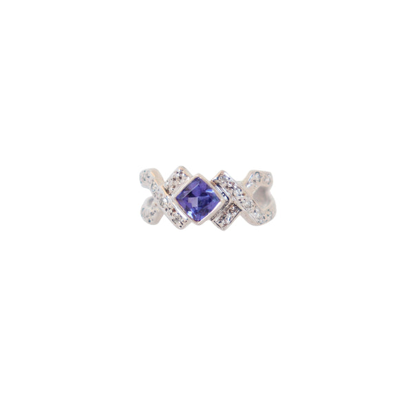 18 kt White Gold Criss-Cross Tanzanite and Diamond Split-band Ring - Cape Diamond Exchange