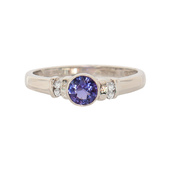 Tube set Tanzanite and Diamond Ring - Cape Diamond Exchange