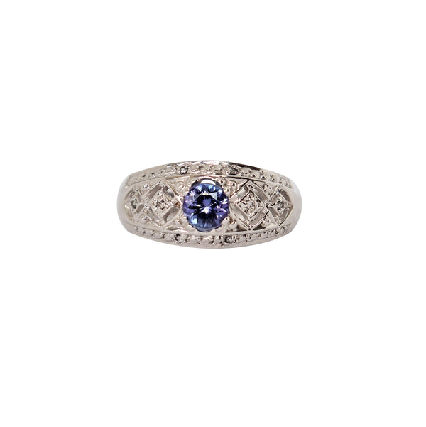White Gold Oval Tanzanite and Diamond Filigree Ring