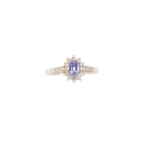 Halo Flower ring with an Oval Tanzanite with Diamonds