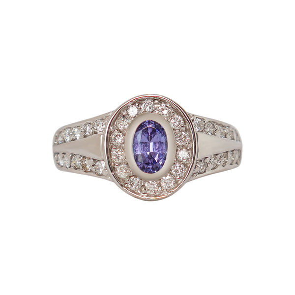 Oval Tanzanite Split Ring with Channel-set Diamonds - Cape Diamond Exchange