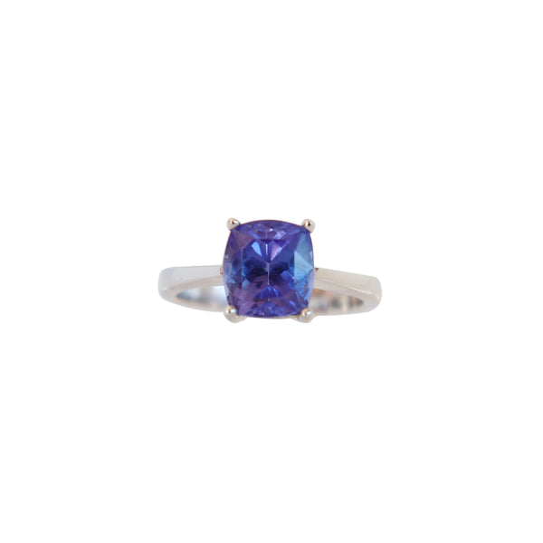 Four Claw Cushion cut Tanzanite Solitaire Ring - Cape Diamond Exchange