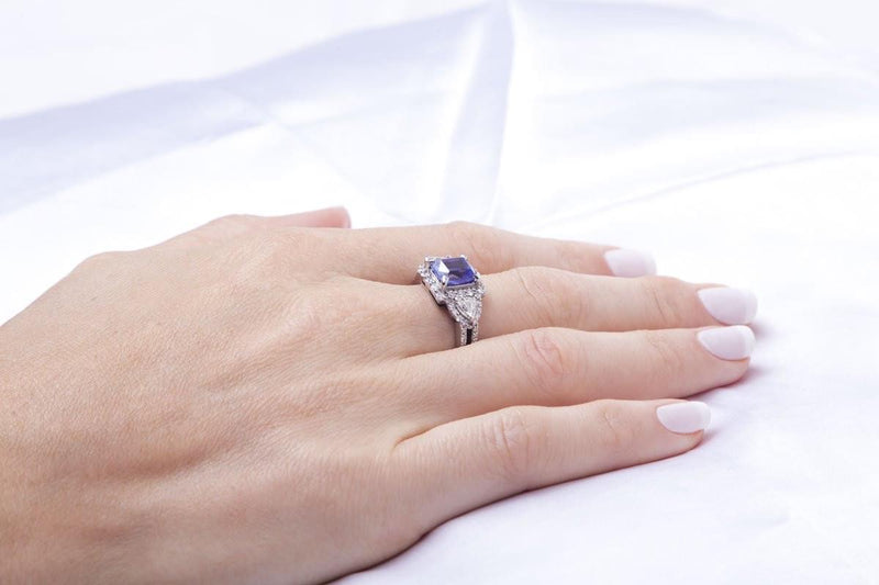 18 kt White Gold Diamond and Cushion Tanzanite Ring - Cape Diamond Exchange