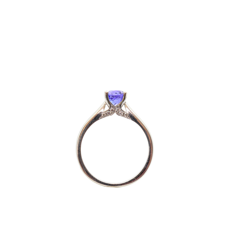 Oval Tanzanite and Diamond Fancy Solitaire Ring set in White Gold