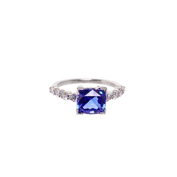 Cushion Cut Tanzanite and Diamond Ring set in White Gold