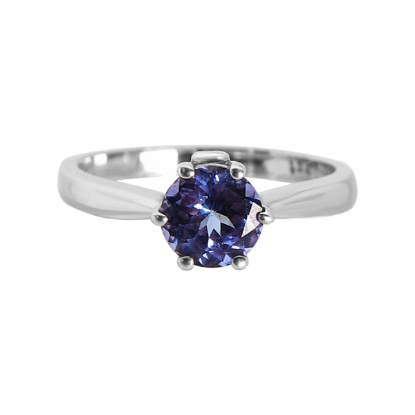 18 kt White Gold and Tanzanite Solitaire Ring