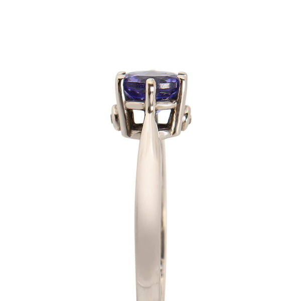 Tanzanite and Diamond Solitaire Ring set in 18 kt White Gold