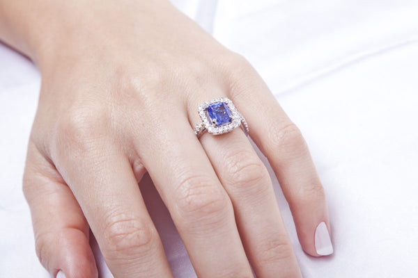 Two Levels Halo Tanzanite Ring - Cape Diamond Exchange