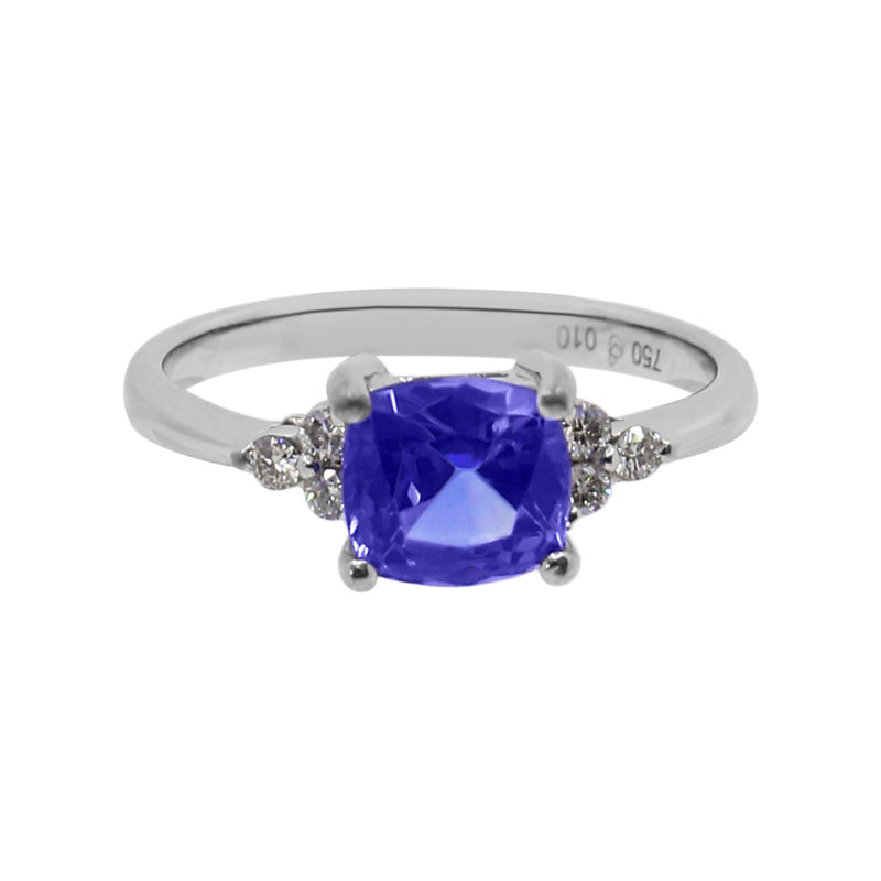 Cushion Tanzanite and Diamond Ring set in White Gold