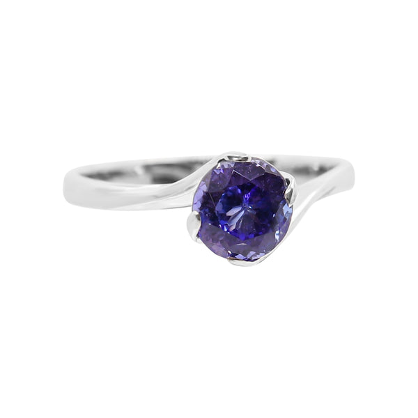 White Gold Tanzanite Solitaire Twisted Ring