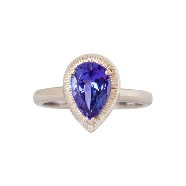 Pear Tanzanite Halo Ring - Cape Diamond Exchange
