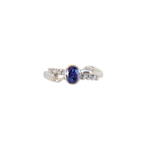 Free-form Oval Tanzanite and Diamond ring - Cape Diamond Exchange
