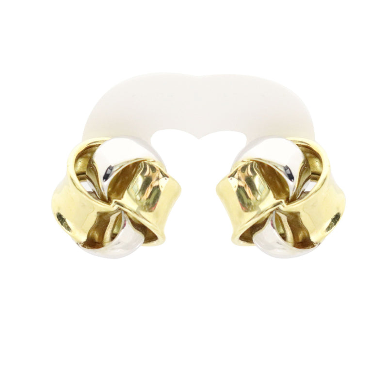 18kt Two Color Gold Knot Pin/Clip Earrings