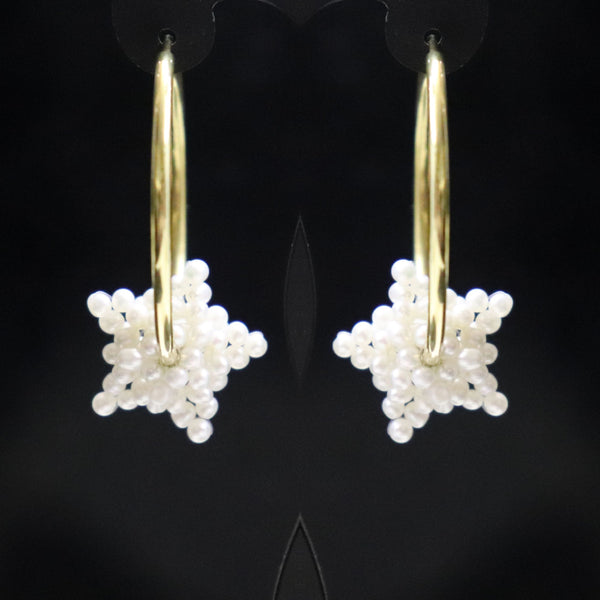 Pearl Stars Gold Hoop Earrings - Cape Diamond Exchange