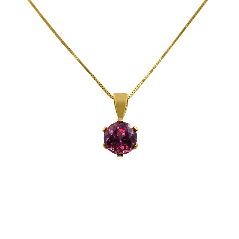 18 kt Yellow Gold Pendant with a Round Garnet