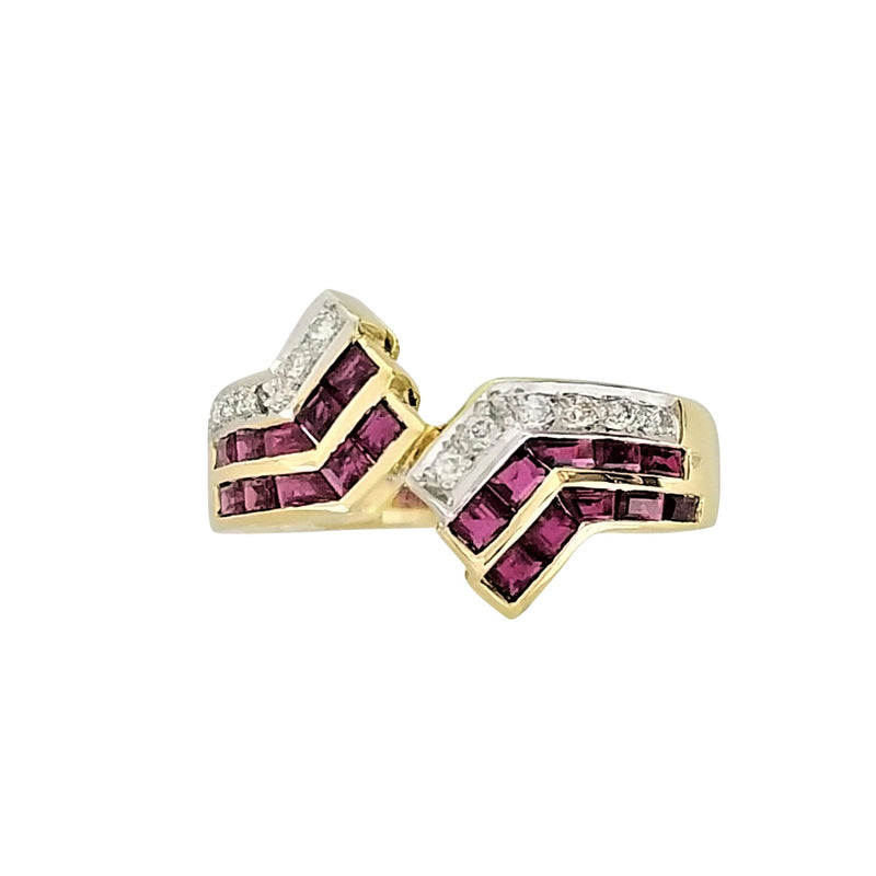 Yellow Gold RIng with Diamonds and Rubies- at Cape Diamond Exchange