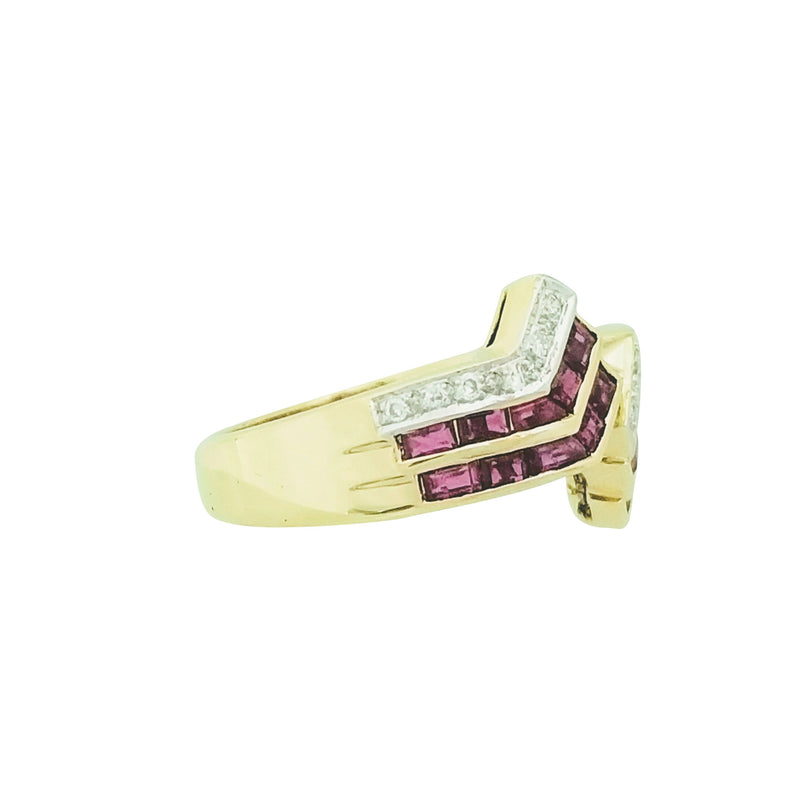 Yellow Gold Ring with Rubies and Diamonds