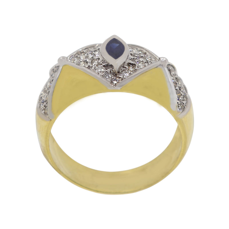 Marquise cut Blue Sapphire and Diamond Luxury Ring
