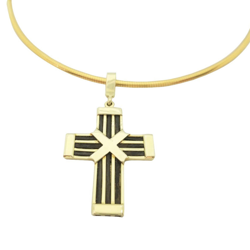 Gold Cross with Elephant Hair Pendant - Cape Diamond Exchange