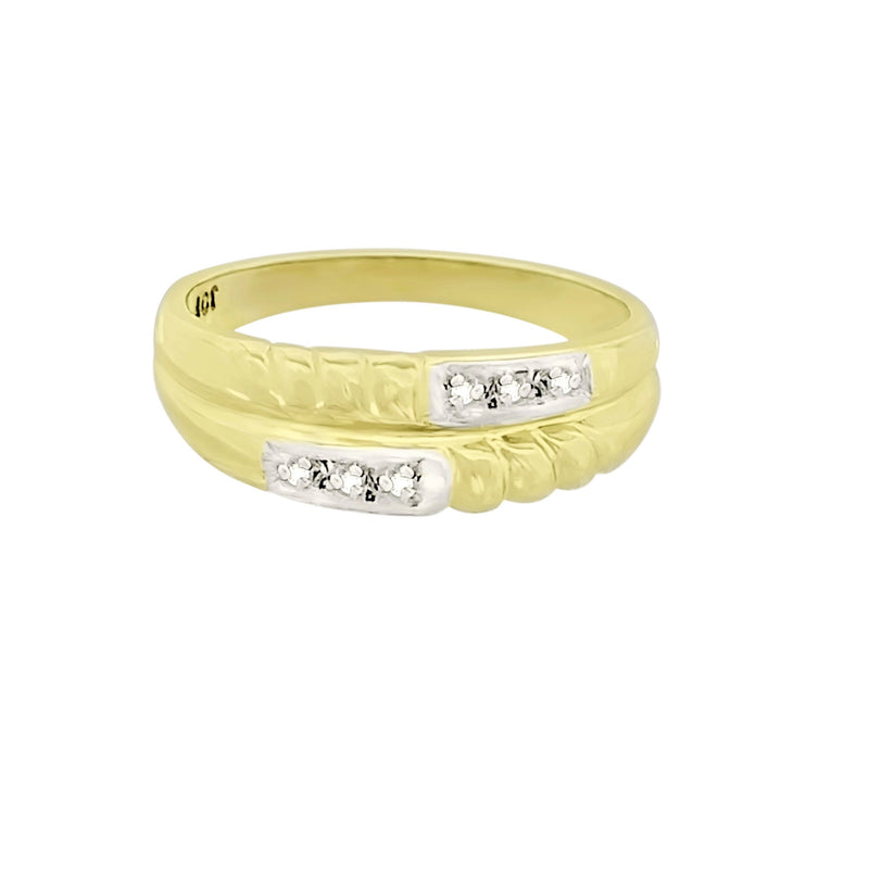 9 kt Yellow Gold Cubic Zircon Two-Row Ring - Cape Diamond Exchange