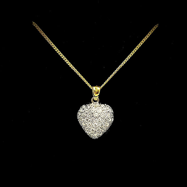 18 kt Yellow Gold Heart Shape Pendant with diamonds - Cape Diamond Exchange
