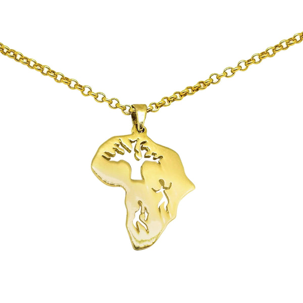 14 kt Yellow Gold Map of Africa Pendant with Rock Art - Cape Diamond Exchange