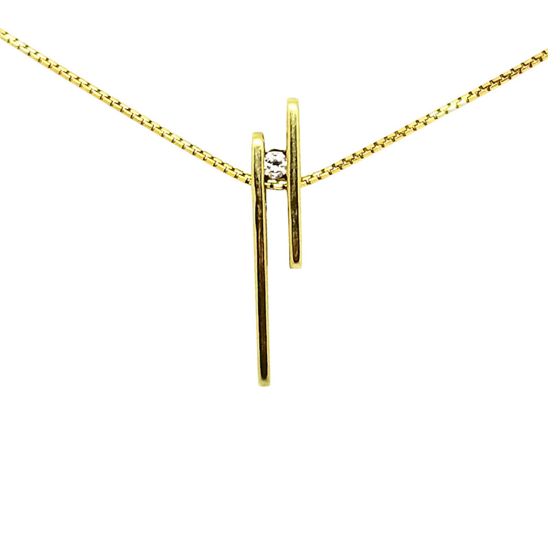 9kt Yellow Gold Parallel Lines Pendant with a Cubic Zircon - Cape Diamond Exchange