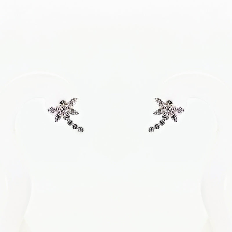 9 kt White Gold Dragon Fly Diamond Earrings - Cape Diamond Exchange