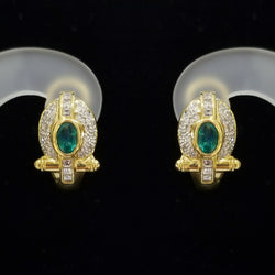 Earrings of 18kt Yellow Gold with Emerald and diamond - Cape Diamond Exchange