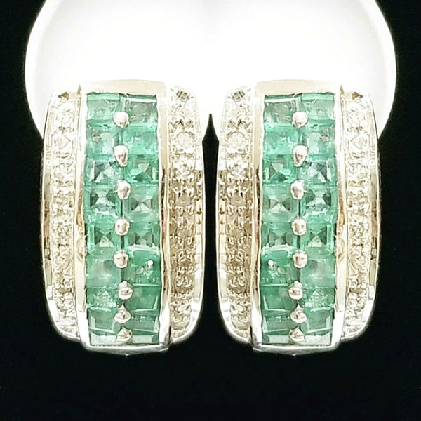 18 kt White Gold Earrings with Emeralds and Diamonds - Cape Diamond Exchange
