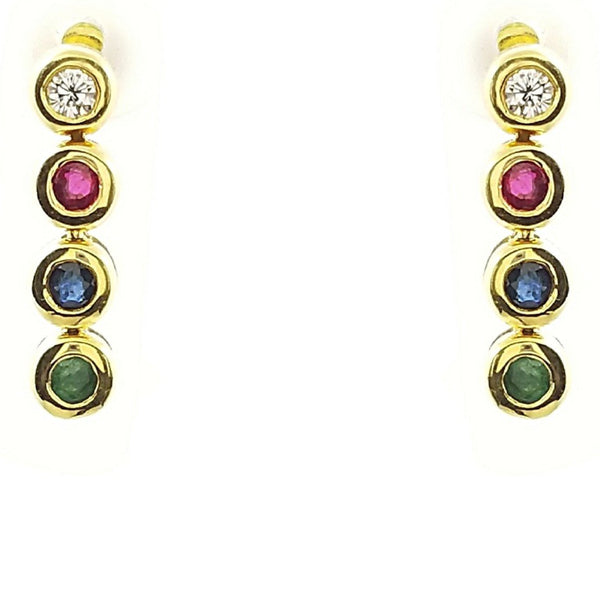 Diamond, Ruby, Sapphire, Emerald stones in 18 kt Yellow Gold, Drop Earrings. - Cape Diamond Exchange