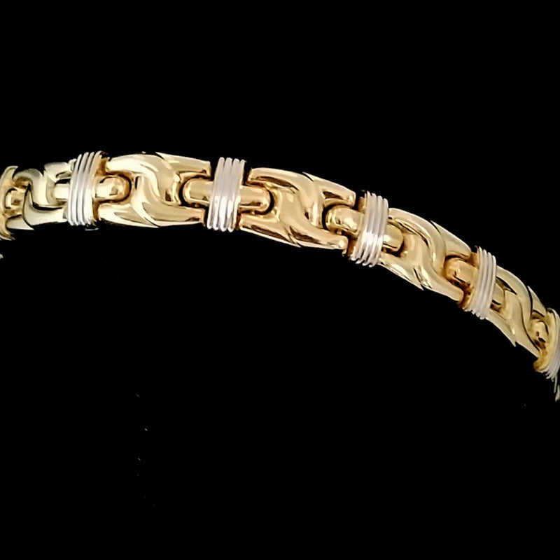 18 kt Yellow and White Gold Bracelet Rectangle Links - Cape Diamond Exchange