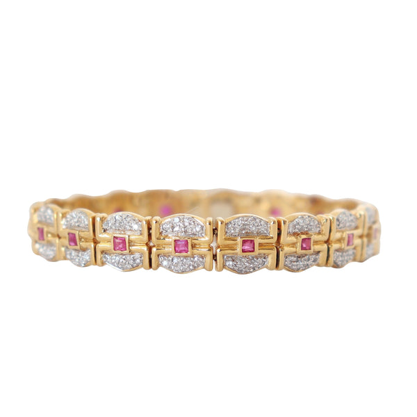 Yellow Gold Bracelet with Rubies and Diamonds
