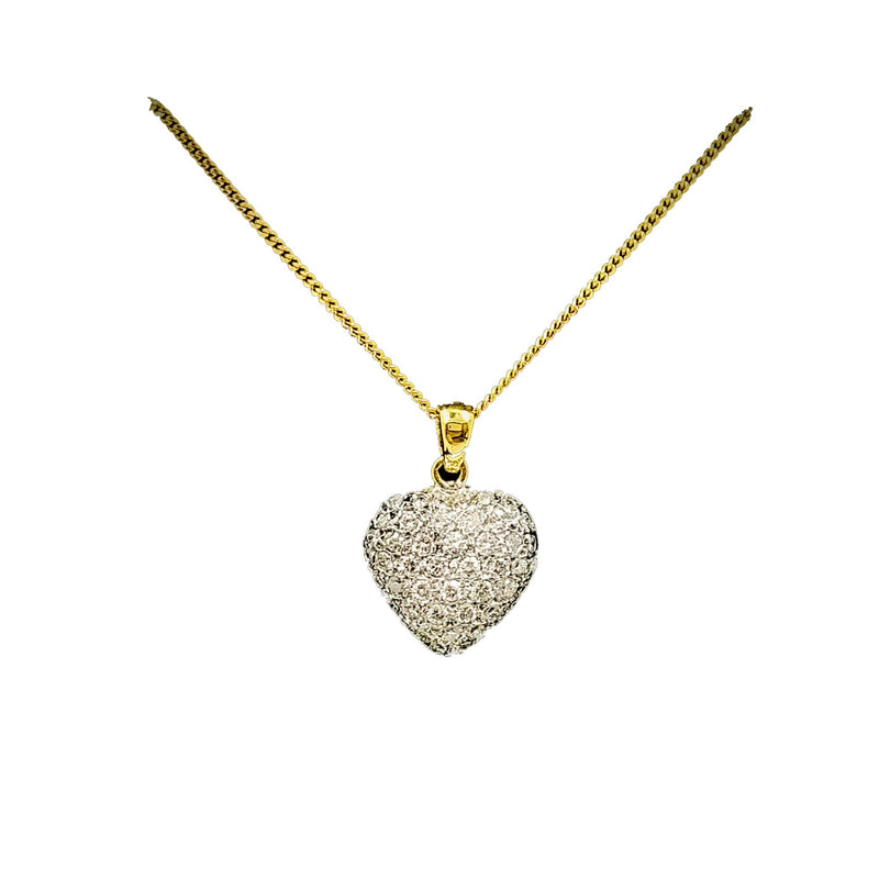 Yellow Gold Heart Shape Pendant with diamonds