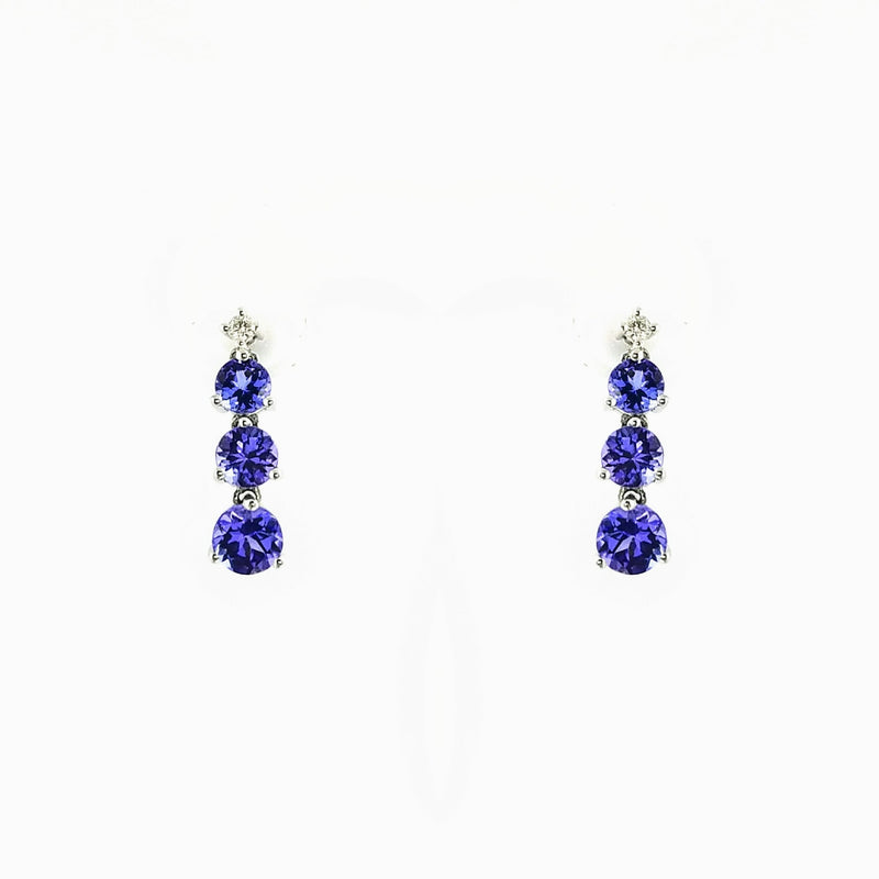 9 kt White Gold Tanzanite and Diamond Dangling Earrings - Cape Diamond Exchange