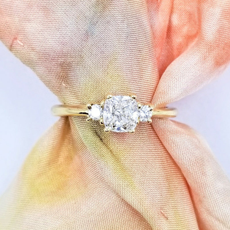 18 kt Yellow Gold Diamond Trilogy Engagement Ring - Cape Diamond Exchange
