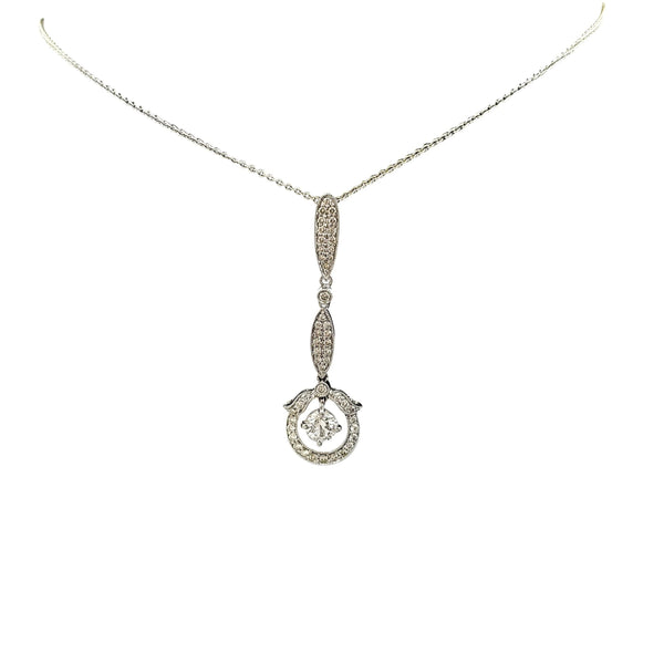18 kt White Gold Drop Pendant set with Diamonds - Cape Diamond Exchange