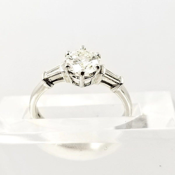 White Gold Ring with a center Diamond and Baguettes On The Side - Cape Diamond Exchange
