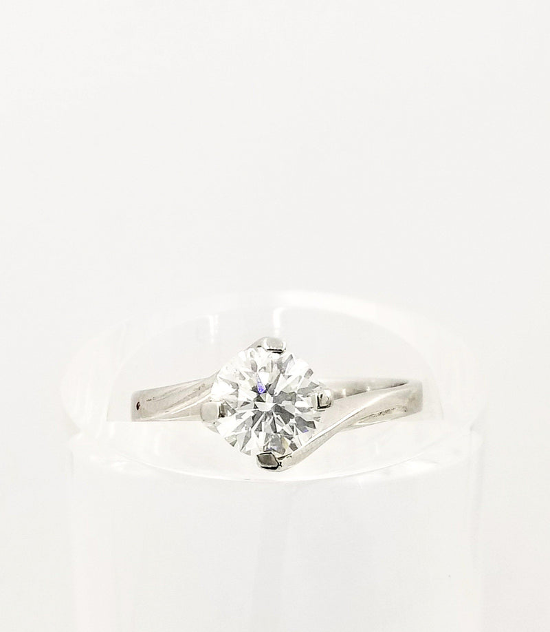 Solitaire Diamond set in a Twirling Setting White Gold Ring - Cape Diamond Exchange