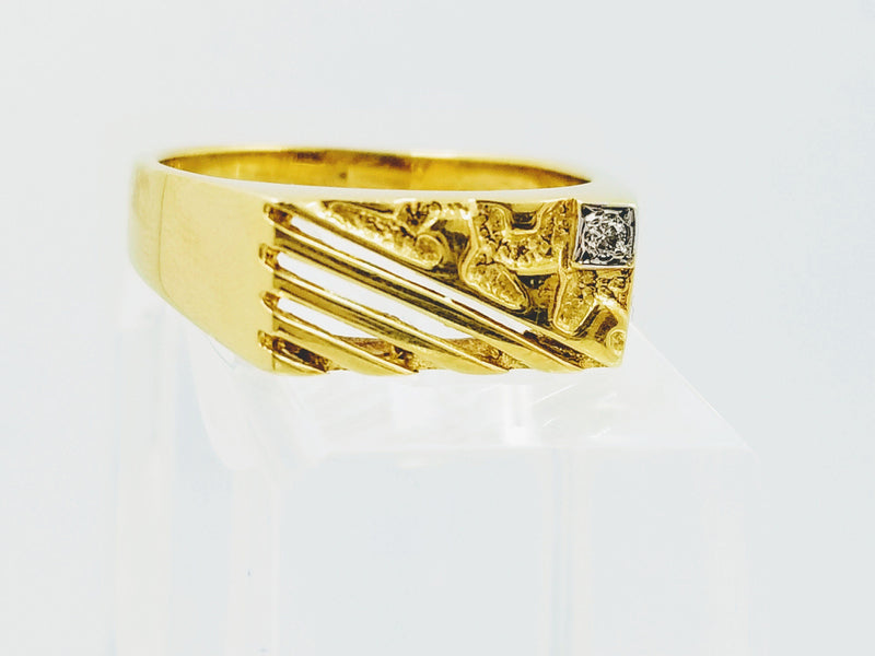 Yellow Gold Signet Diamond Ring - Cape Diamond Exchange