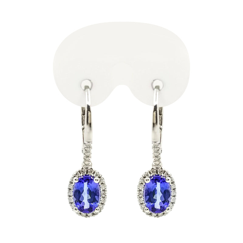 9 kt White Gold Diamond and Oval Tanzanite Drop Earrings. - Cape Diamond Exchange