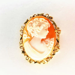 Yellow Gold Cameo Brooch - Cape Diamond Exchange