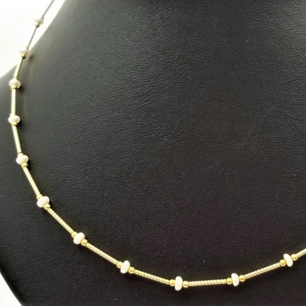 Yellow Gold Tube Necklace with Pearl Beading - Cape Diamond Exchange