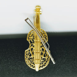 Yellow Gold Cello Brooch - Cape Diamond Exchange