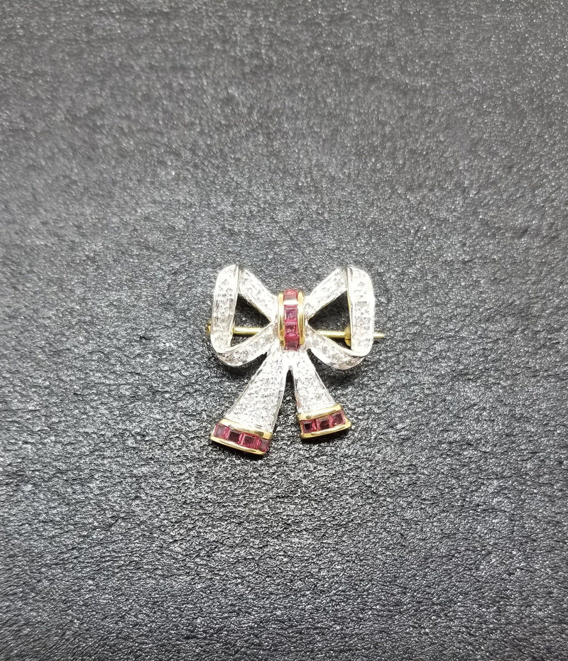 Diamond Bow Brooch with a Touch of Rubies - Cape Diamond Exchange
